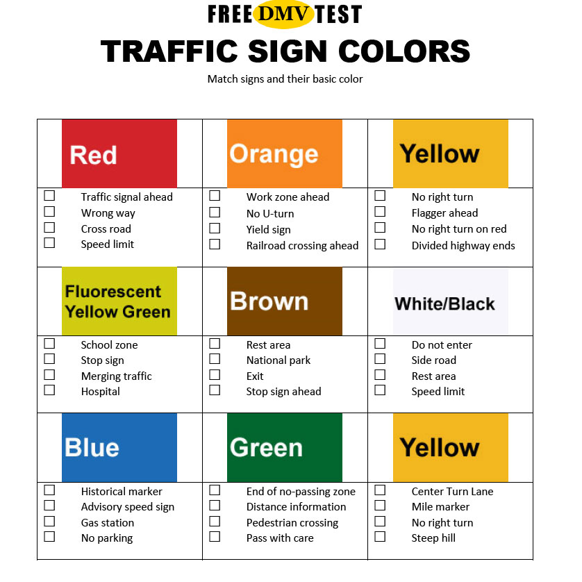Free DMV test study sheet: road sign colors