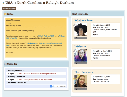 Connect with your local NaNoWriMo community
