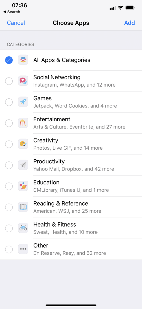 Select what app categories to block