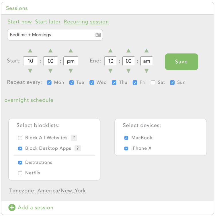 Create a recurring Freedom block