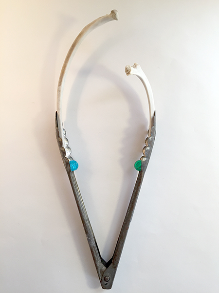Human Nature Tongs, 2016. Freedom Baird. Vintage tongs, found deer bones, plastic beads.