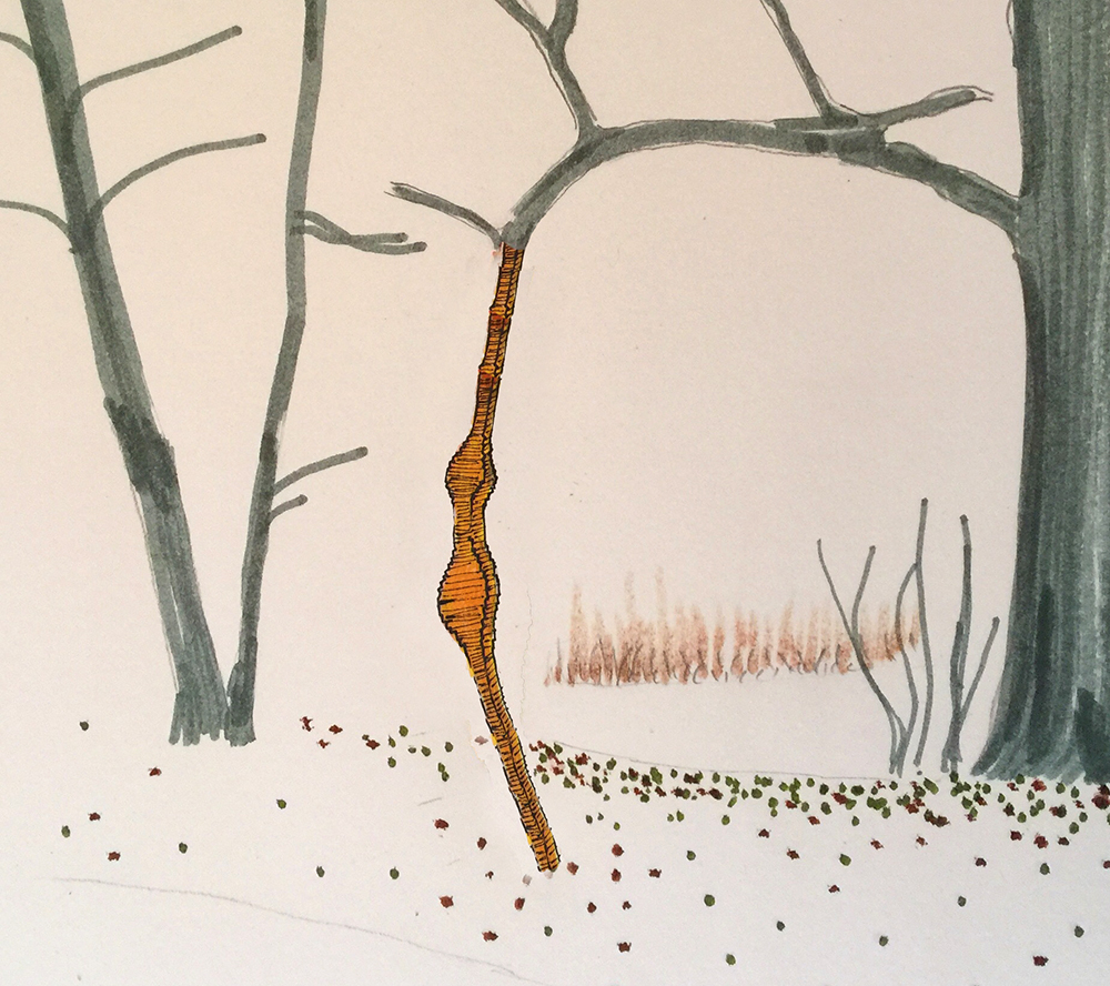 Sketch for Tree to Ground, 2016. Freedom Baird. Coroplast, PVC, styrofoam, steel. Riverway Park, Boston, MA. Gateways exhibition, Studios Without Walls