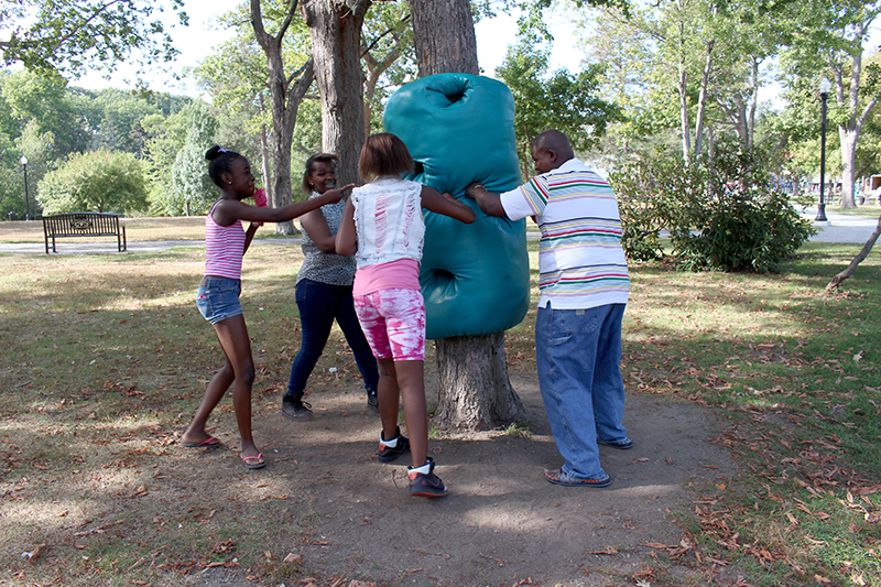 Touch Punch Trunk in use by visitors, summer 2015, Elm Park, MA.
