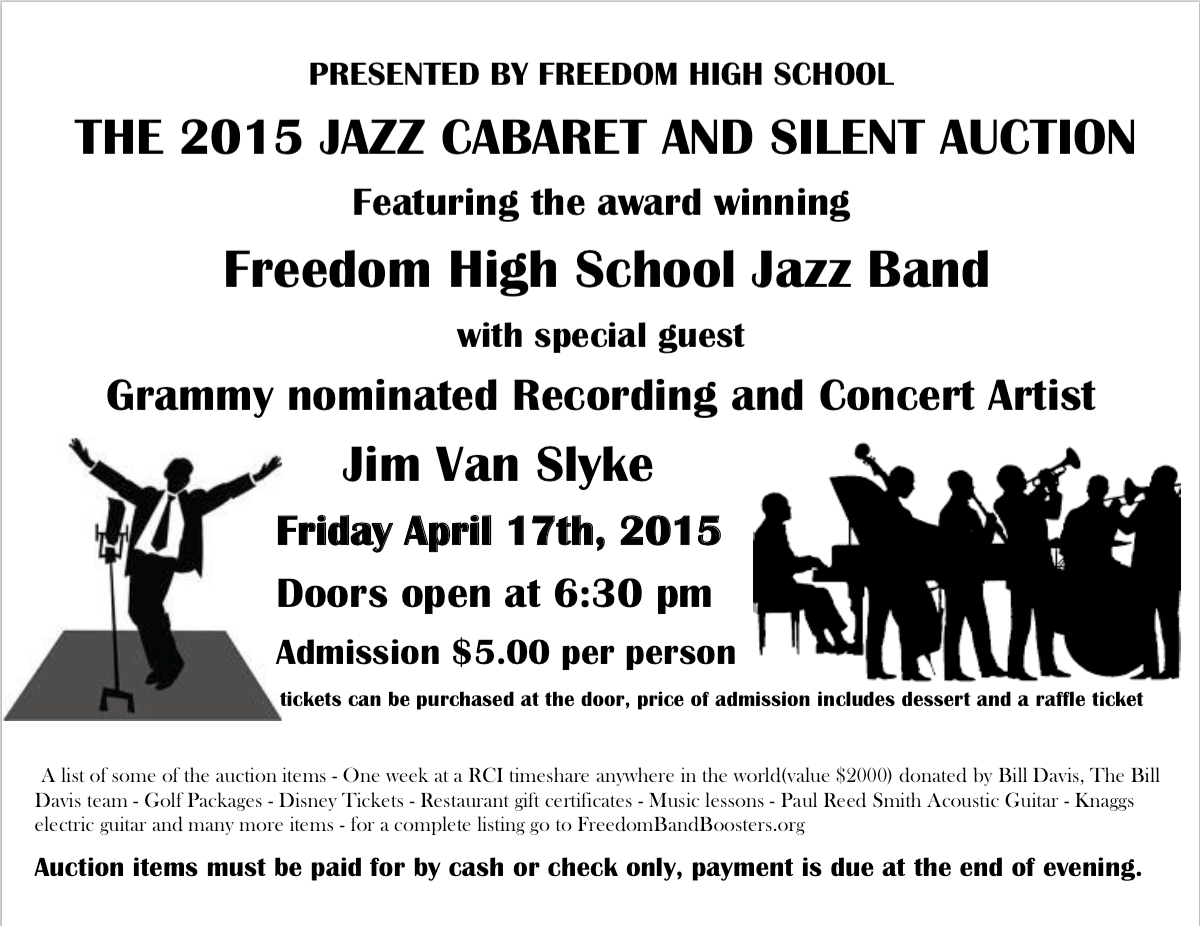 The 2015 Jazz Cabaret Is Here Freedom Band Boosters