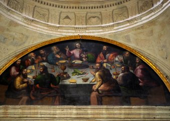 """Unique """"Last Supper"""" mural. On the table, there is a gunny pig instead of lamb"""