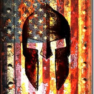Molon Labe - American Flag and Spartan Helmet