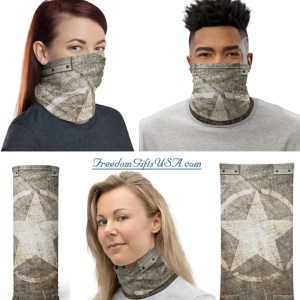 Neck Gaiter Army Star on Distressed Riveted Steel Plate Print