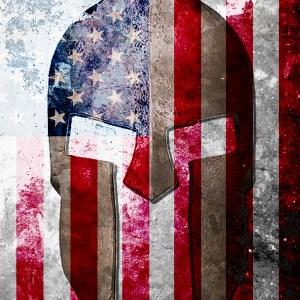 Molon Labe - Spartan Helmet On Distressed American Flag Print.