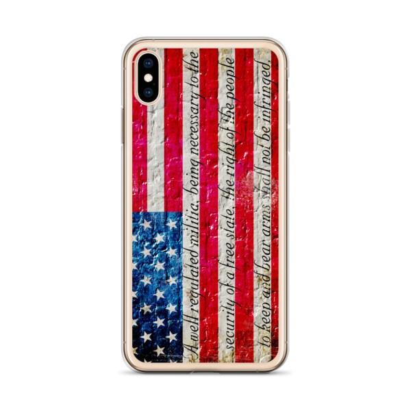 iPhone X/XSCase – American Flag & 2nd Amendment on Brick Wall Print