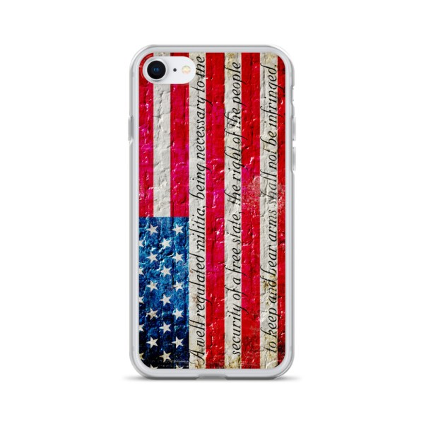 iPhone 7/8 Case – American Flag & 2nd Amendment on Brick Wall Print