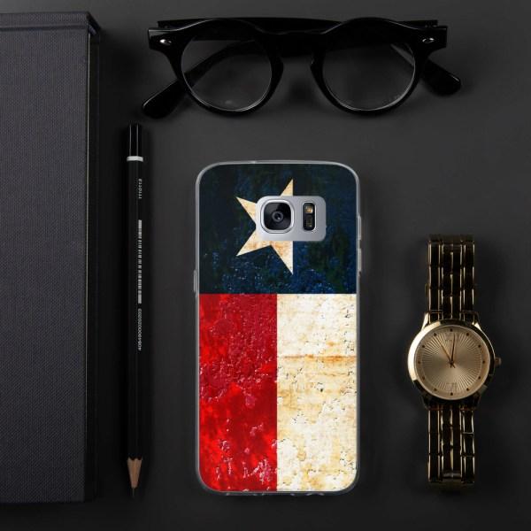Samsung Galaxy S7 hedge Case Texas flag on Rust Print