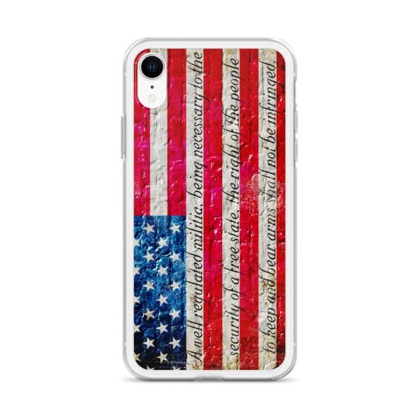 White iPhone X/XSCase – American Flag & 2nd Amendment on Brick Wall Print