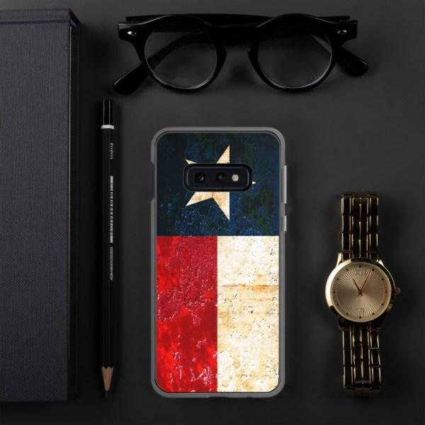 Samsung Galaxy S10e Case Texas flag on Rust Print