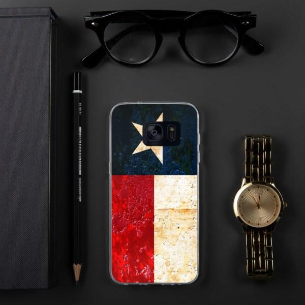 Samsung Galaxy S7 Case Texas flag on Rust Print