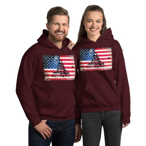 Maroon Hoodie Don't Tread on me Bullet Hole on American Flag