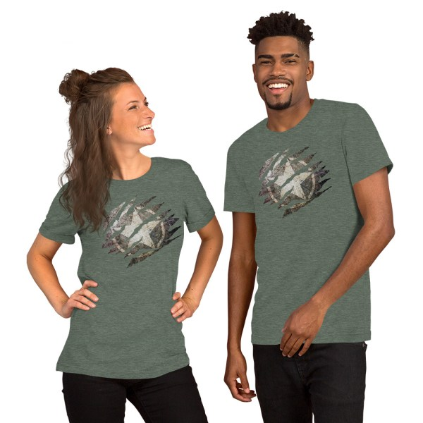 Short-Sleeve Unisex Heather Grey T-Shirt Torn Distressed Army Star on Steel