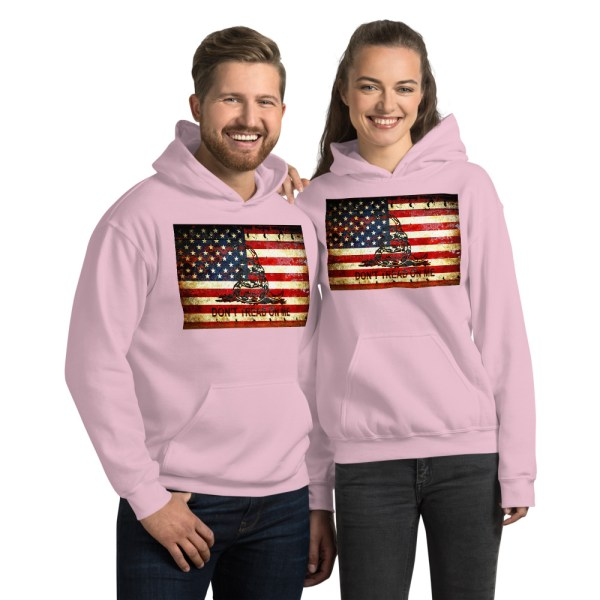 Unisex Pink Hoodie Don't Tread On Me – Gadsden & American Flag Composition