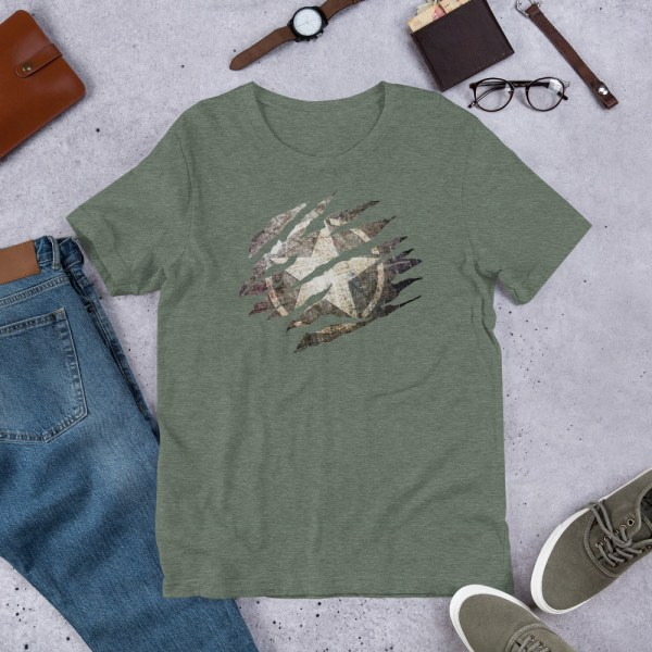 Short-Sleeve Unisex Heather Grey T-Shirt Torn Distressed Army Star on Steel with jeans