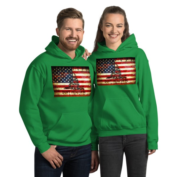 Unisex Green Hoodie Don't Tread On Me – Gadsden & American Flag Composition