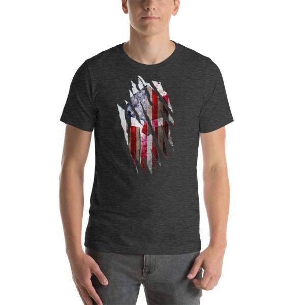 Short-Sleeve Unisex Dark Grey Heather T-Shirt Torn Spartan Helmet on Distressed American Flag