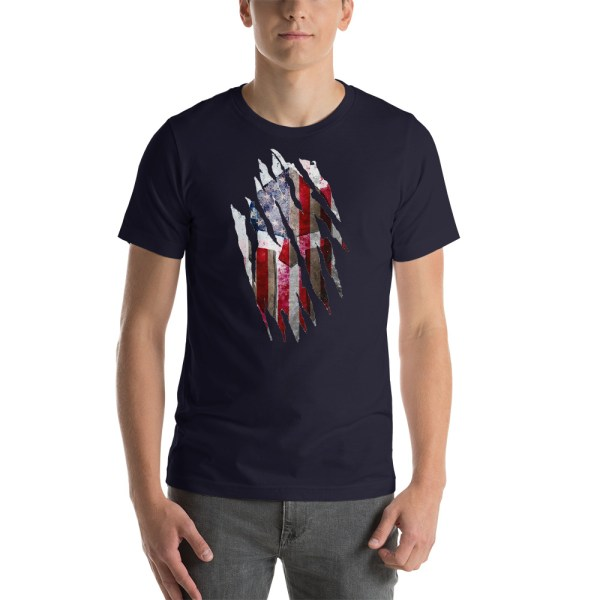 Short-Sleeve Unisex Navy T-Shirt Torn Spartan Helmet on Distressed American Flag