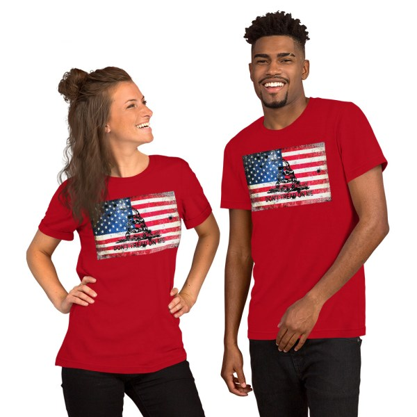 Red T-Shirt Don't Tread on me Bullet Hole on American Flag