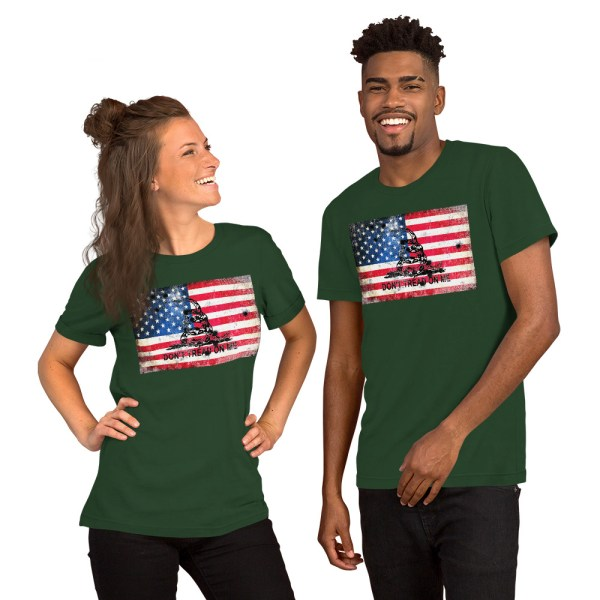 Green T-Shirt Don't Tread on me Bullet Hole on American Flag