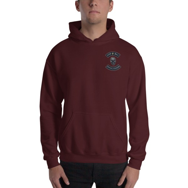 Maroon Unisex Hoodie Mad, Bad and Dangerous Rockers with Skull