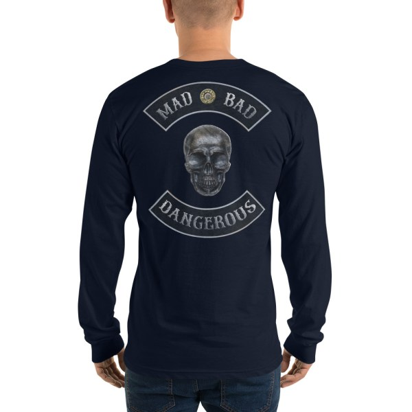 Navy Long sleeve t-shirt Mad, Bad and Dangerous Rockers with Skull Back