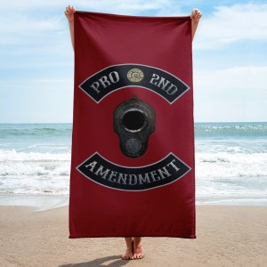 Pro 2nd Amendment with M1911 Muzzle Beach and Bathroom Towel