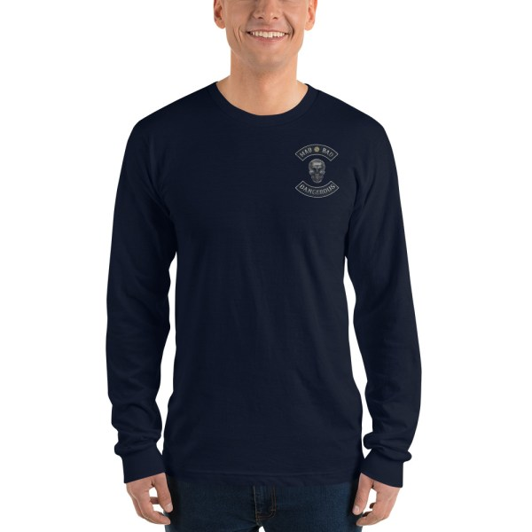 Navy Long sleeve t-shirt Mad, Bad and Dangerous Rockers with Skull Front