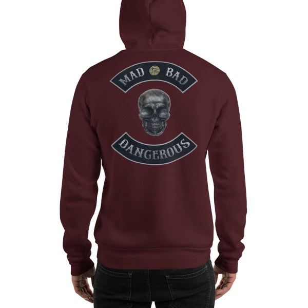 Maroon Unisex Hoodie Mad, Bad and Dangerous Rockers with Skull Back
