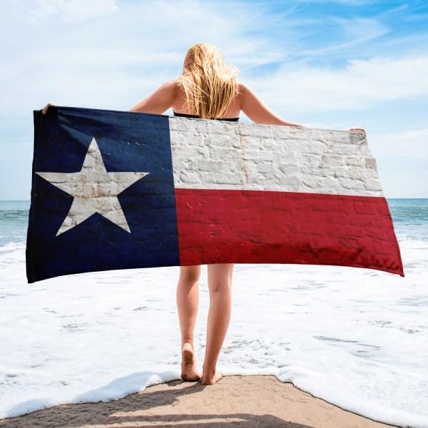 Beach and Bathroom Towel Texas Flag on Brick Wall