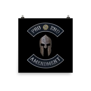 Pro 2nd Amendment with Spartan Helmet Print by Mad Bad Dangerous Designs - Museum-quality print