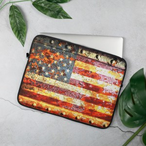 Rusted American Flag Laptop Sleeve 135 inches