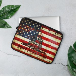 Rusted American and Gadsden Flag 13 inches Laptop Sleeve - Don't tread on Me