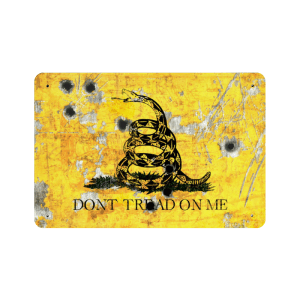 Gadsden Flag on Distressed Metal with Bullet Hole Don't tread on Me - Made in USA Print on Metal