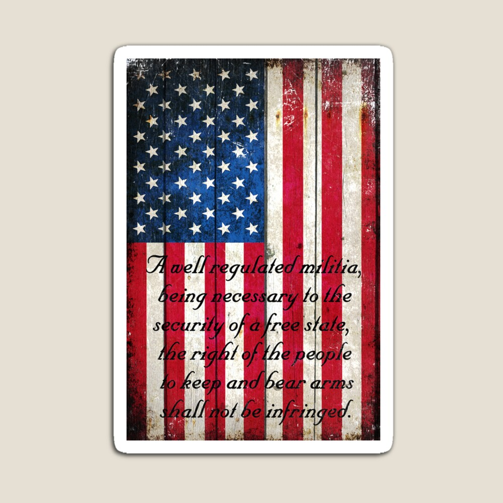 Vintage American Flag And 2nd Amendment On Old Wood Planks Magnet