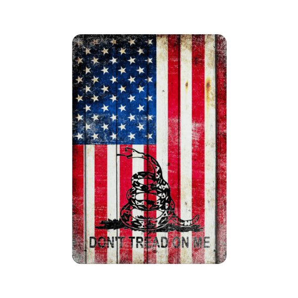 American and Gadsden Flag composition Vertical Metal Wall Sign Plaque - Made in the USA Print on Metal