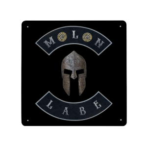 Molon Labe with Spartan Helmet and Double 45 ACP Case Heads - Made in USA Print on Metal