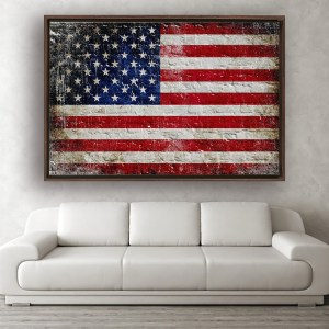 Distressed American Flag painted on brick Wall in walnut floating frame hung above sofa