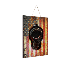 """M1911 Pistol on American Flag - Print on Wood 8""""x12""""- Made in America"""