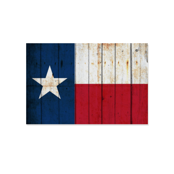 """Texas Themed Decor - Distressed Texas Flag Print on Wooden Plaque 12"""" x 8"""" Made in the USA"""