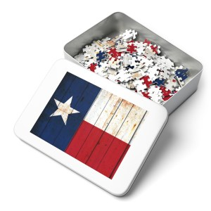 This beautiful puzzle depicts the Flag of Texas on old barn wood
