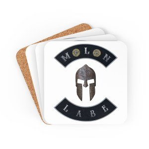 Molon Labe with Spartan Helmet and Double 45 ACP Case Heads Print Corkwood Coaster Set - Set of 4