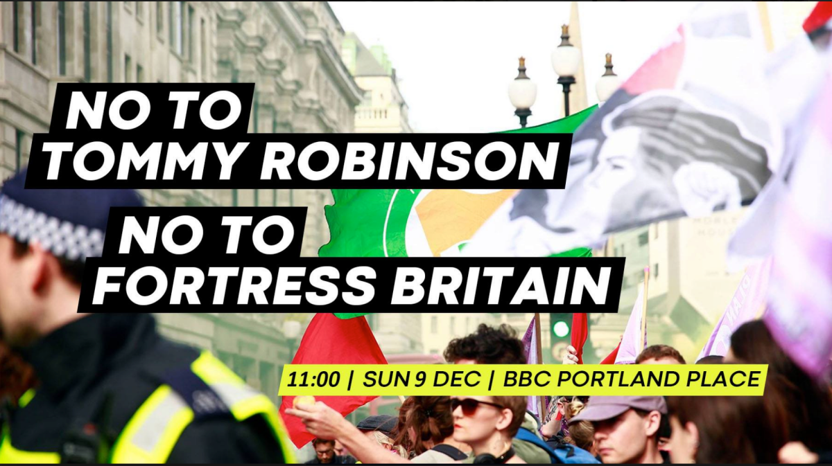UPDATE on anti-Tommy Robinson demo Sunday 9th December
