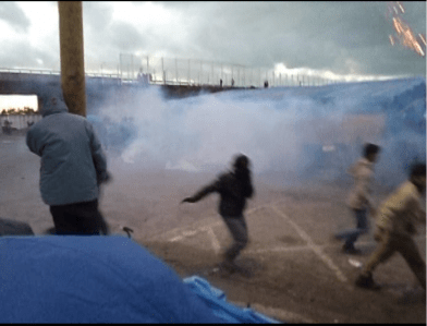 Gas attack by police on the jungle