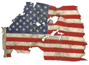 Small American flag recovered amid World Trade Center debris at the Fresh Kills Landfill. 9-11 exhibit at the East Tennessee History Museum. 2003 Smithsonian photo by Hugh Talman.