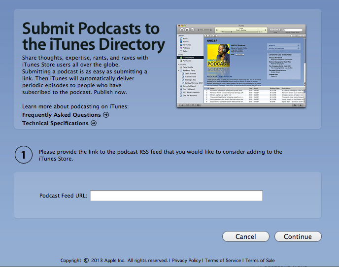 Submission to iTunes page