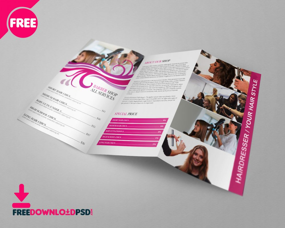 Free Barber Shop Tri Fold PSD Brochure Template Download